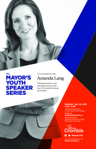 In case you missed it, watch the inaugural Mayor's Youth Speaker Series featuring award winning journalist, Amanda Lang, from Bloomberg News.
